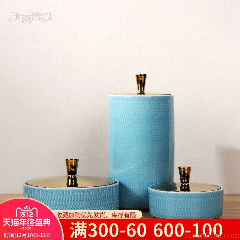 Modern Chinese ceramic Mediterranean furnishing articles sitting room between example household soft adornment storage caddy fixings furnishing articles