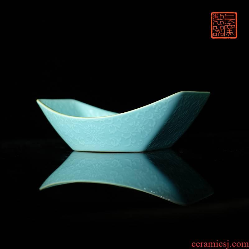 Offered home - cooked ju long up controller heap turquoise carving Wan Shoulian grain tea tea tray ship jingdezhen ceramic antique process