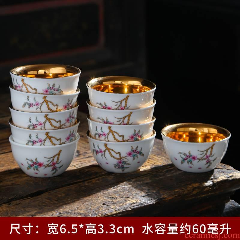 Ceramic cups master cup single CPU kung fu tea set silver cup 999 sterling silver cup tea tasted silver gilding, sample tea cup