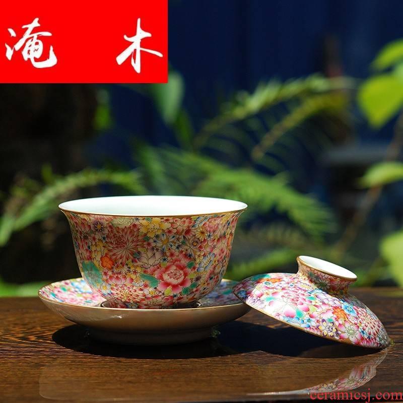 Submerged wood jingdezhen hand - made famille rose flower covered bowl bowl kung fu tea set three antique porcelain bowl