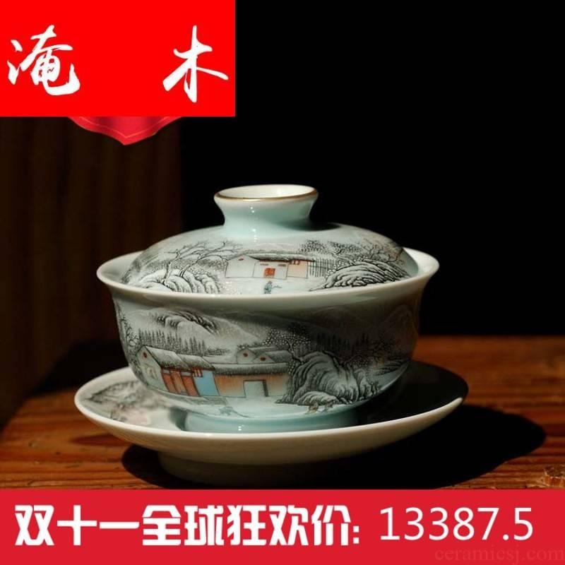 Submerged wood powder enamel and friends through the snow snow jingdezhen porcelain tea set antique fine ceramic hand bag mail the new stadium