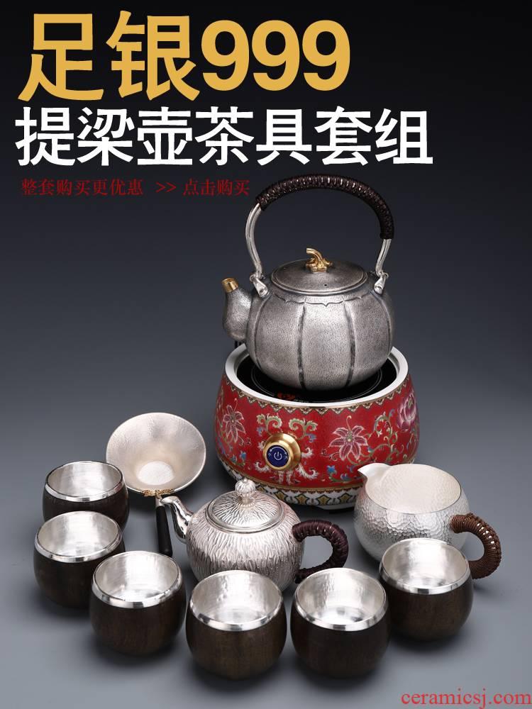Recreational product silver kung fu tea set enamel color TV TaoLu silver pot S sterling silver 999 kettle pot home