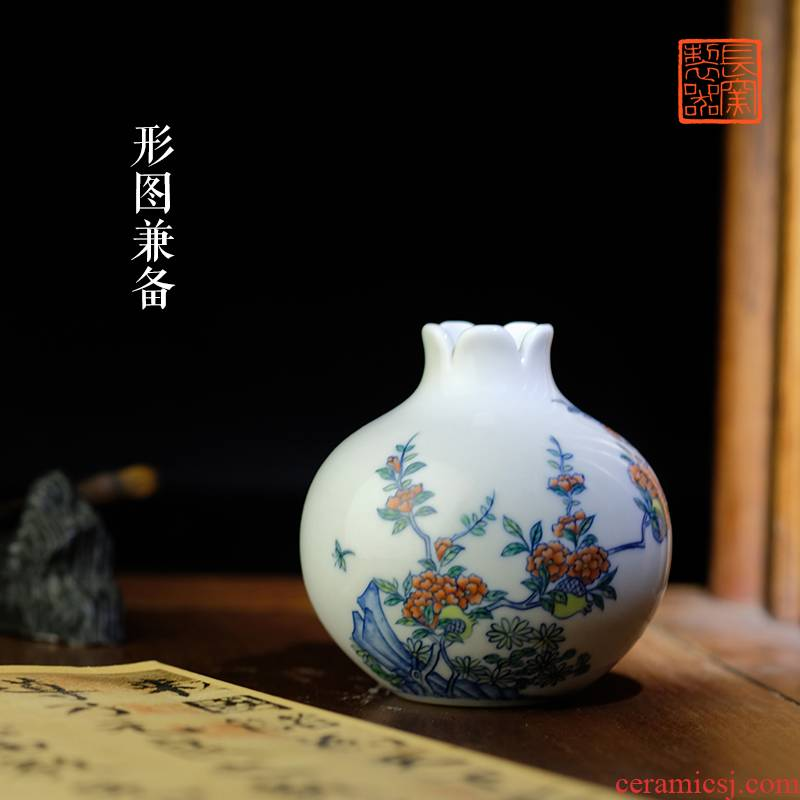 Offered home - cooked hand - made color bucket pomegranate statute of jingdezhen ceramics by hand in small bottle of flower arranging small place