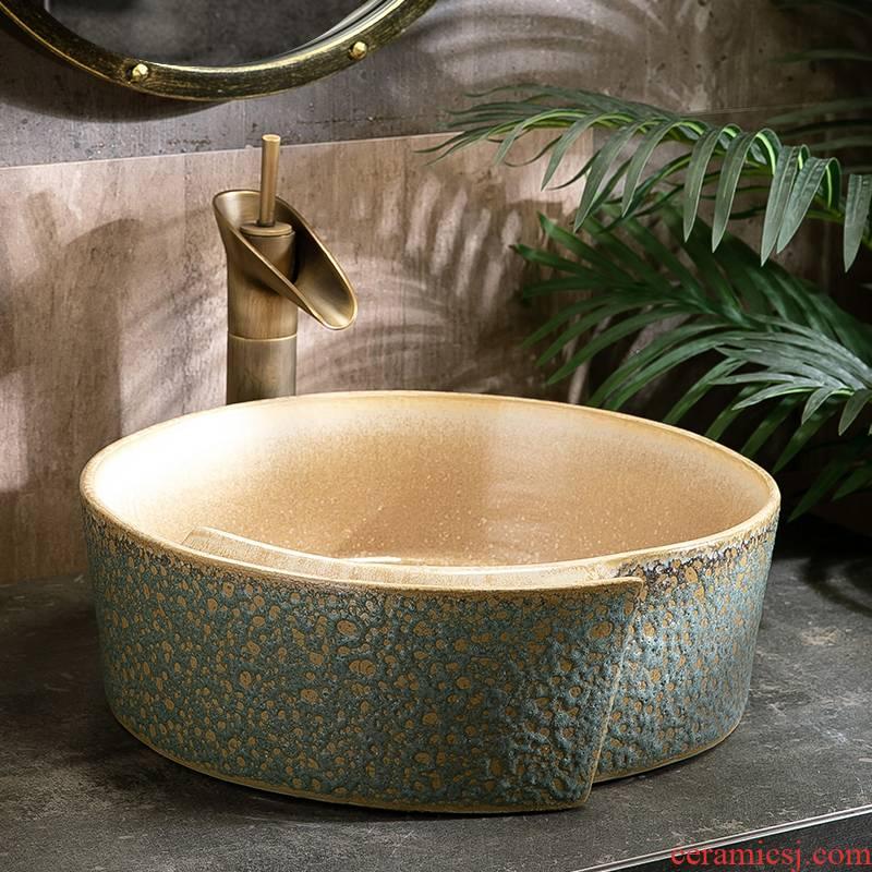 The Lavatory basin ceramic household stage basin to single retro birdbath simple toilet lavabo balcony basin