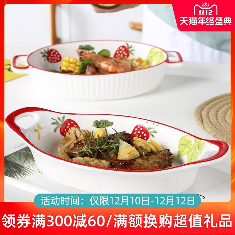 Ceramic pan baked cheese baked food bowl household number fish dish of the new oven microwave oven dedicated plate