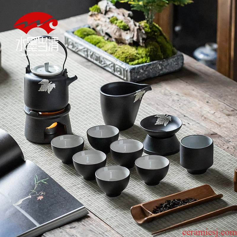 Japanese black pottery teapot teacup girder pot of kung fu tea set zen household ceramics office receives a visitor restoring ancient ways