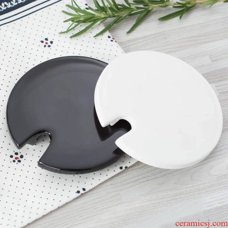 Creative, black and white mark lid ceramic cup lid circular lid cover general coffee cups lid bamboo lid