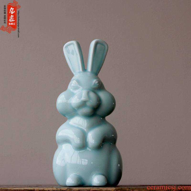 Jingdezhen ceramic shadow green hand is lovely rabbit decorative porcelain furnishing articles furnishing articles household act the role ofing is tasted animals
