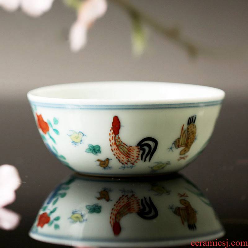 . Poly real boutique scene jingdezhen ceramic cups kung fu tea set sample tea cup archaize in color bucket cylinder cup chicken
