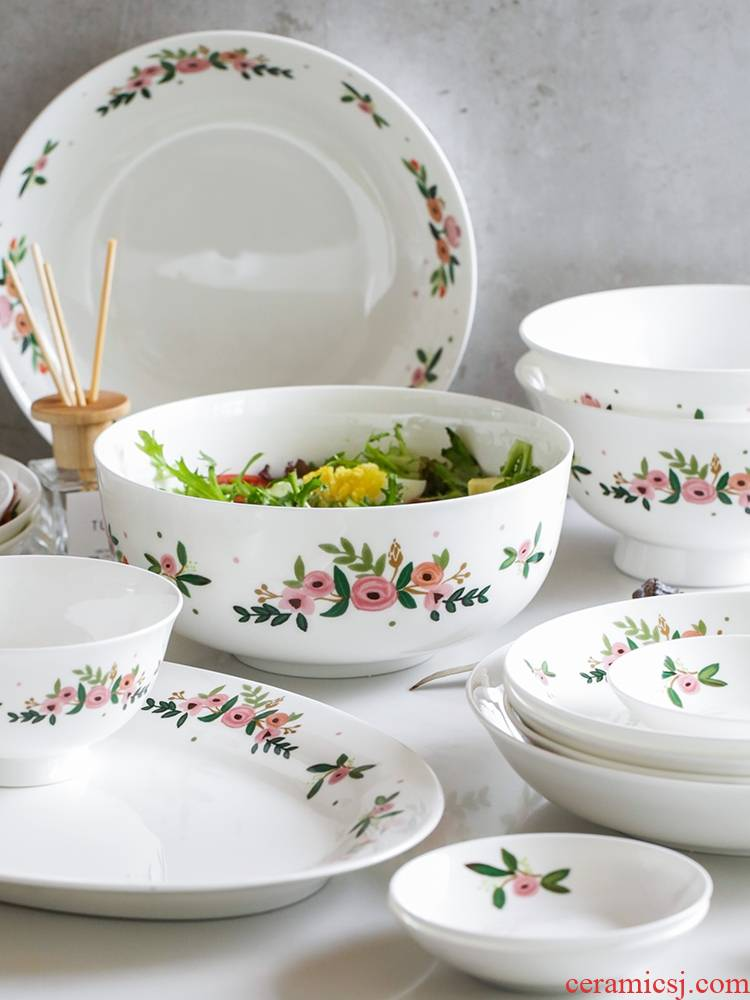 Qiao mu LH home ipads China household dishes suit composite ceramic bowl fish dish plate soup bowl dish