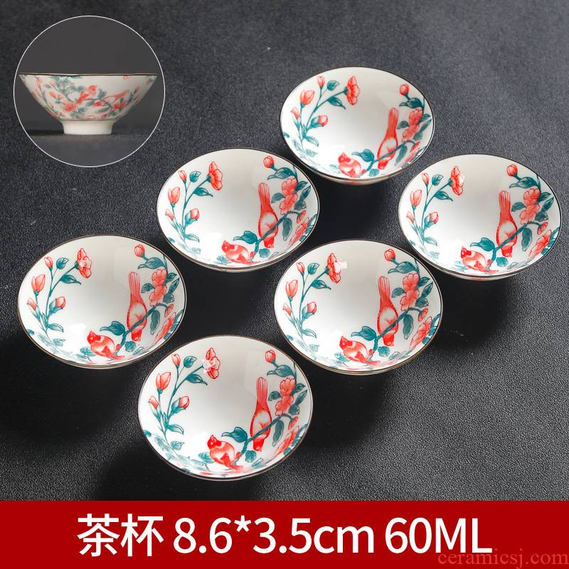 Ceramic blue and white single hand - made master kung fu small tea cups tea cup, perfectly playable cup sample tea cup bowl