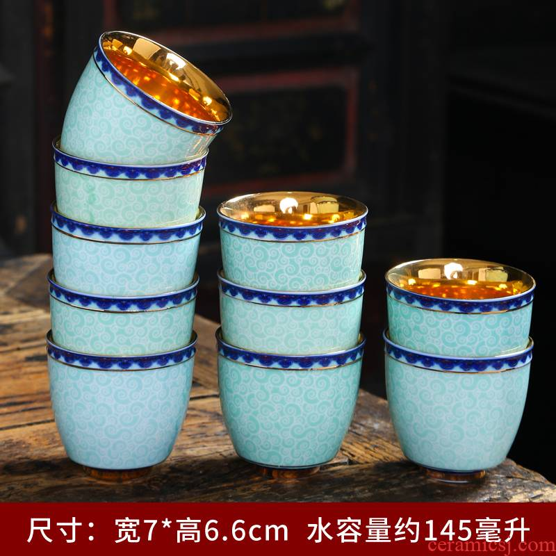 Silver cup Silver 999 ceramic cups peony kung fu tea set bladder tasted Silver gilding master cup sample tea cup, small cup