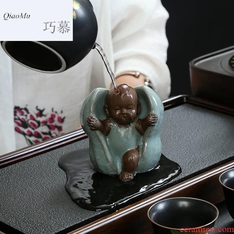 Qiao mu dehua ceramic peanut tea pet early birth of creative place adorn article can play kongfu tea set