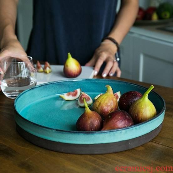 Qiao mu DY creative household dish tray was round table dish dish ceramic tea tray of fruit ceramic tea set