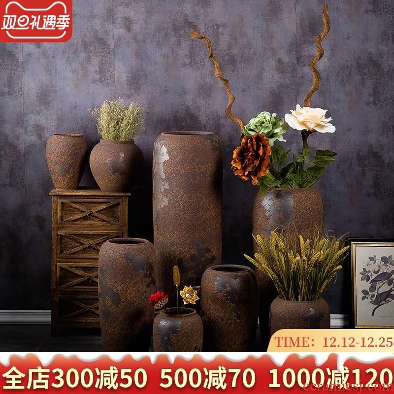 Jingdezhen ceramic vase landed a large courtyard decorative furnishing articles retro creative chamber POTS dry flower arranging flowers