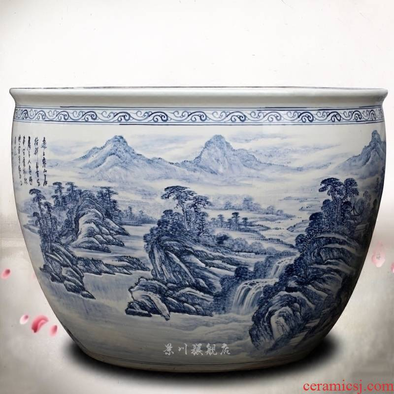 Jingdezhen ceramic its hand - made landscape painting the sitting room aquarium household garden furnishing articles calligraphy and painting the tortoise cylinder