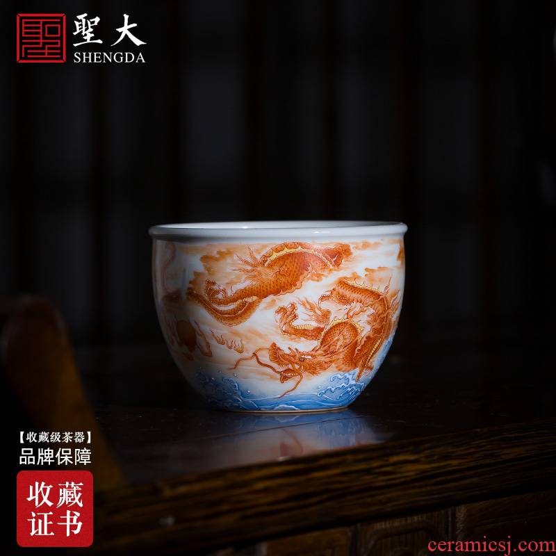Holy big pure hand - made ceramic kung fu tea heavy industry alum red see colour longteng universal cylinder cup all hand of jingdezhen tea service
