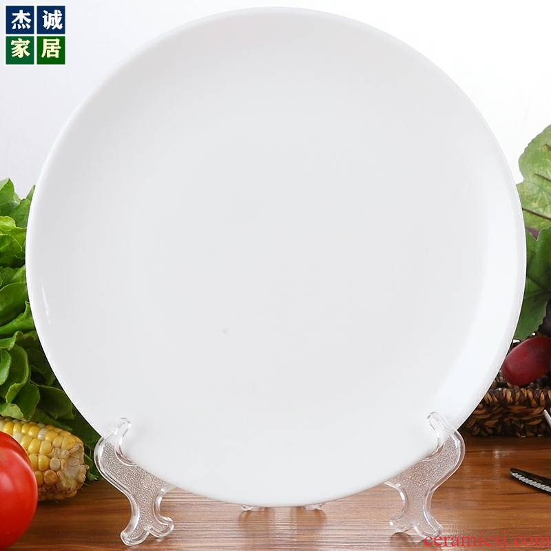 Hotel restaurant household utensils large platter 11 inches pure white ceramic western - style food plates sushi plate disc