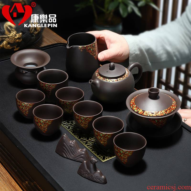 Recreational product violet arenaceous kung fu tea set undressed ore purple mud of a complete set of tea cups teapot home office gift box