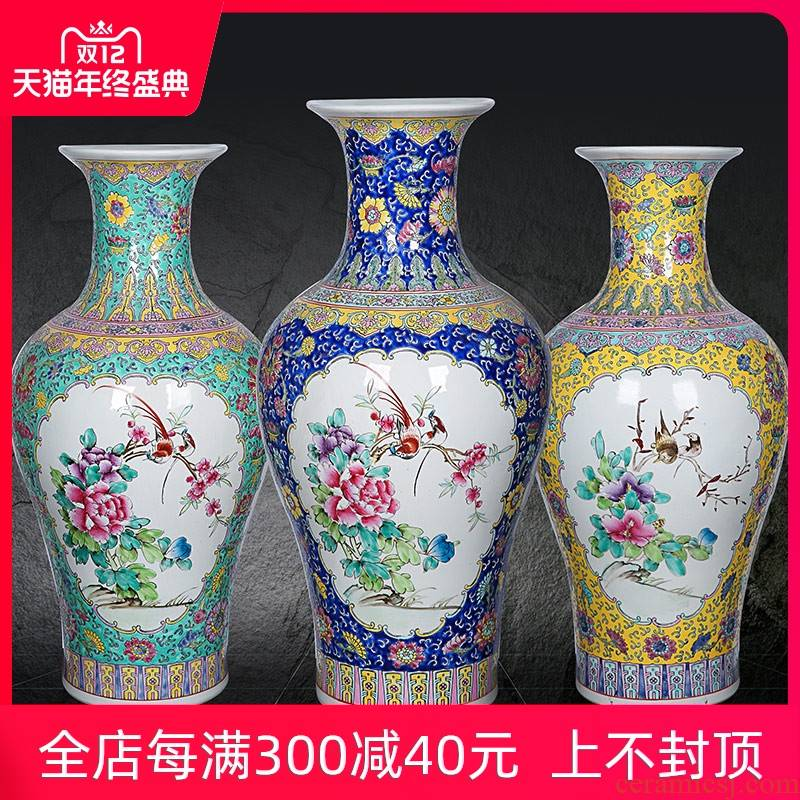 Antique collection jingdezhen ceramics enamel Antique hand - made enamel vase painting of flowers and great place to live in the living room