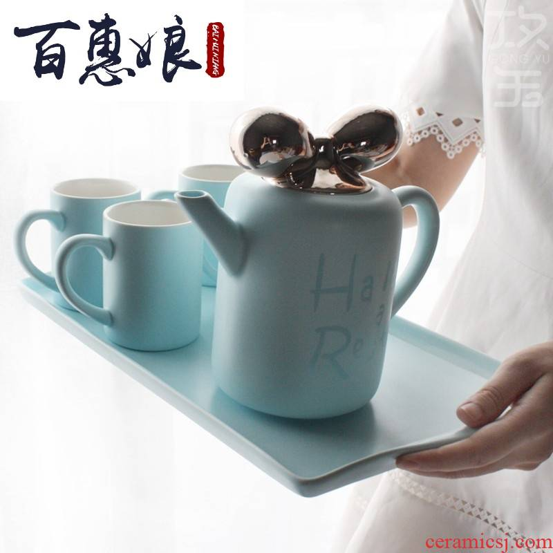 (niang small pure and fresh and cool ceramic kettle with water set tea service European cups cold and hot water heat 0.
