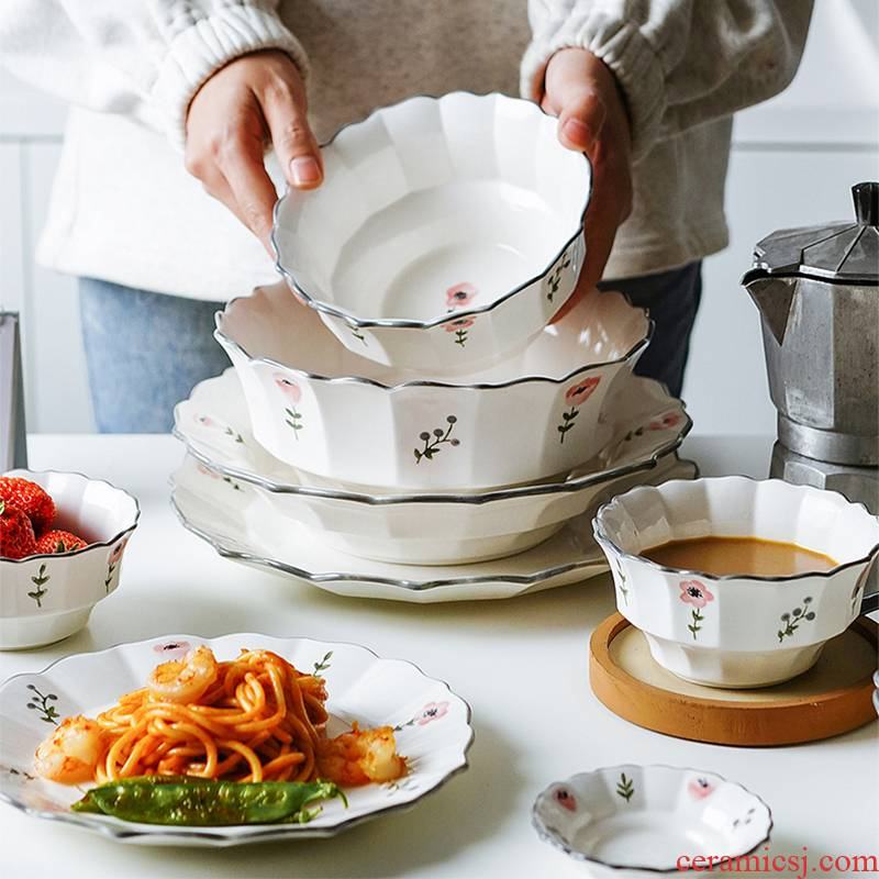 The Nordic small and pure and fresh flowers tableware dishes dishes creative household bowl of soup bowl chopsticks sets ceramic package