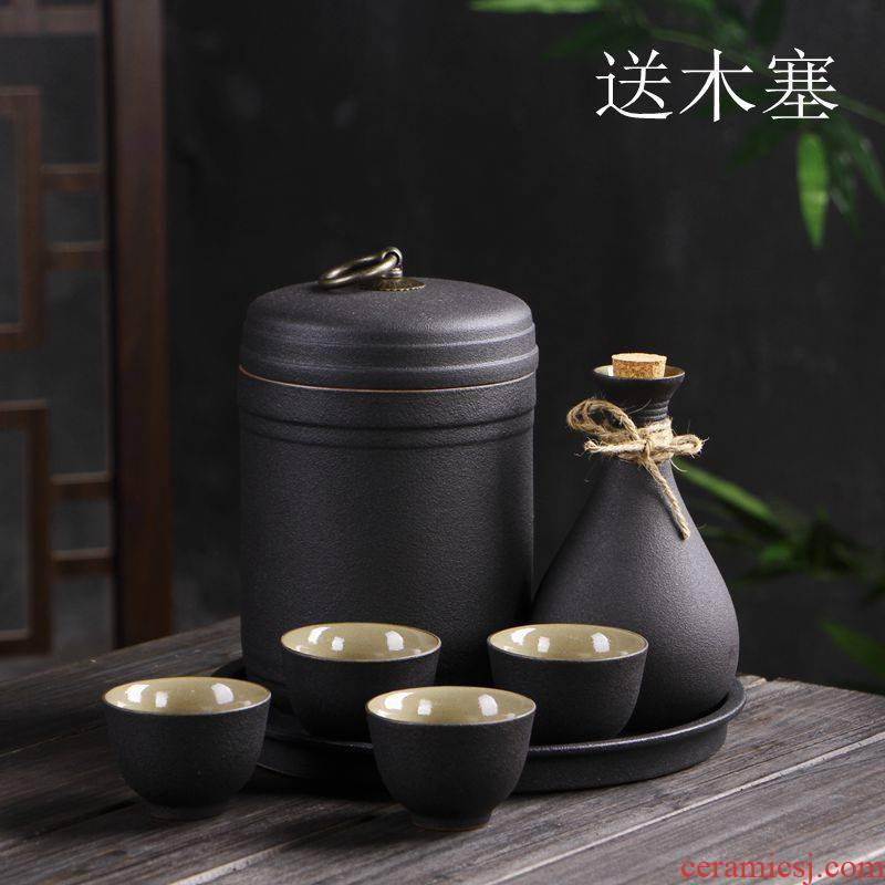 Ceramic wine temperature hot hip antique yellow rice wine liquor cup small a small handleless wine cup warm wine bottle wine suits for Japanese home