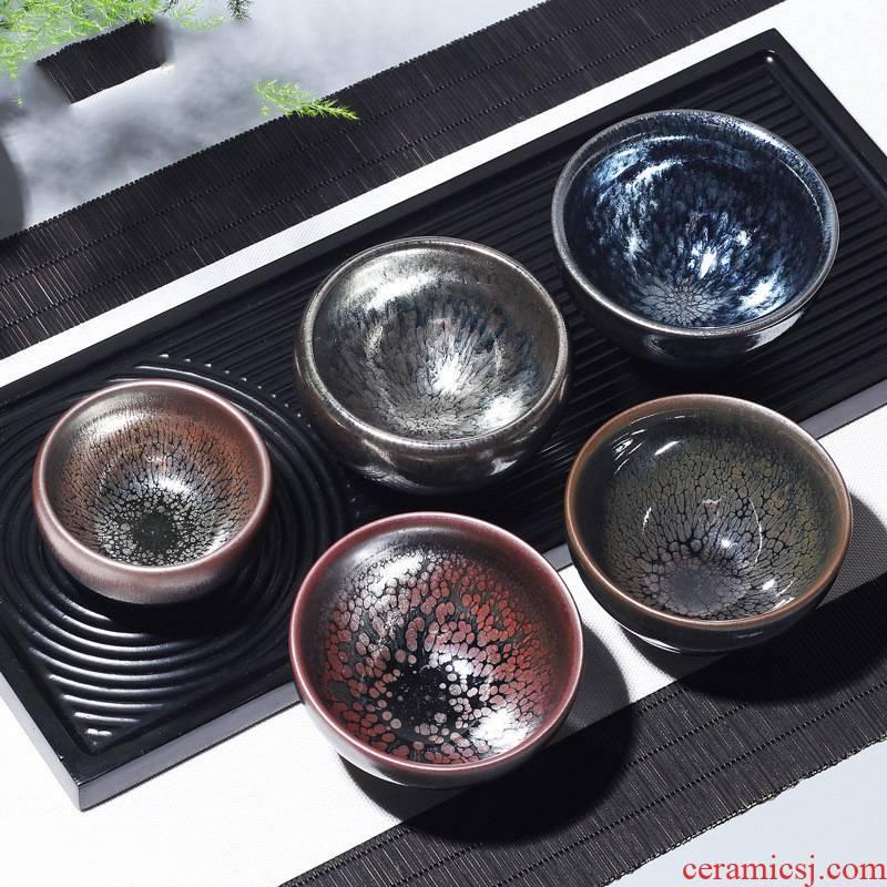 Hui shi jianyang built light ceramic tea set sample tea cup oil droplets masters cup undressed ore iron tire expressions using light beam customization