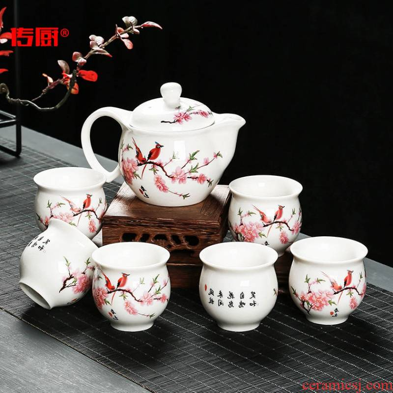 The fine ceramic kitchen kung fu tea set porcelain anti hot double large not hot pottery and porcelain tea set of tea cups