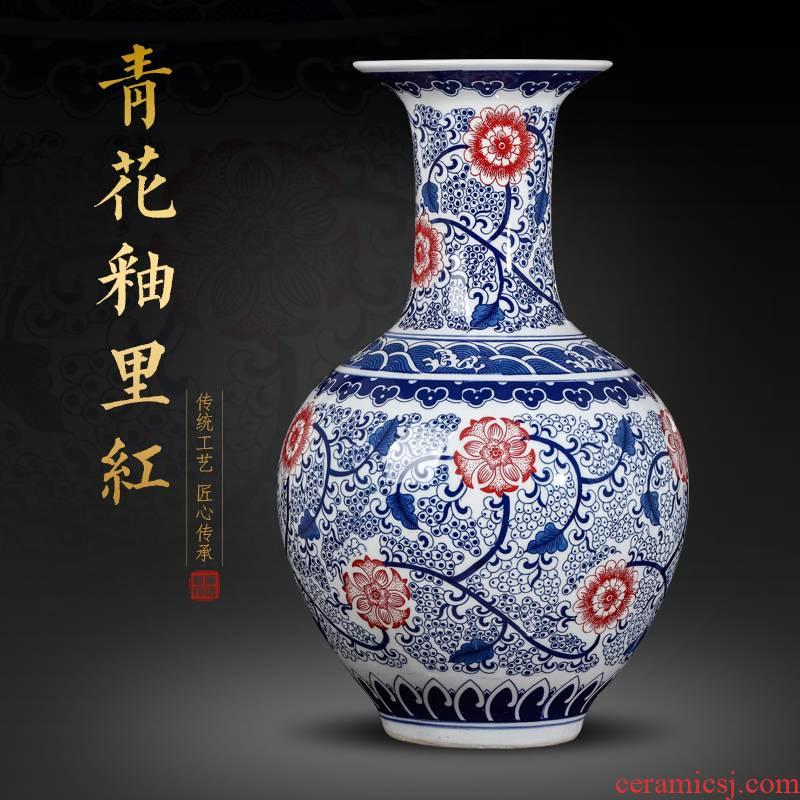 Jingdezhen blue and white ceramics youligong vase furnishing articles sitting room flower arranging the study of Chinese style household decoration