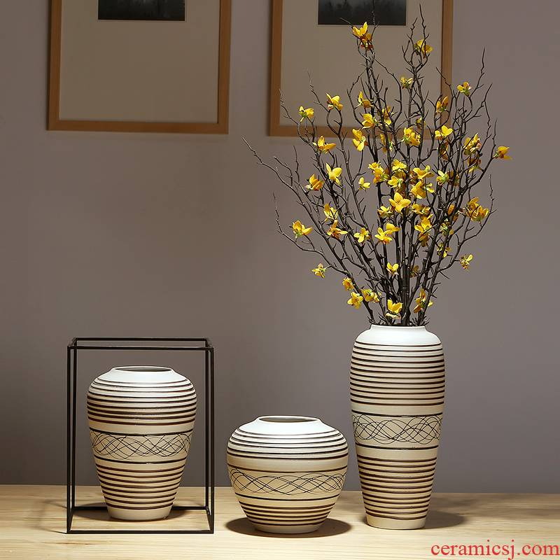 Jingdezhen three - piece suit modern new Chinese modern ceramics decoration place adorn article vase vases, flower arrangement sitting room