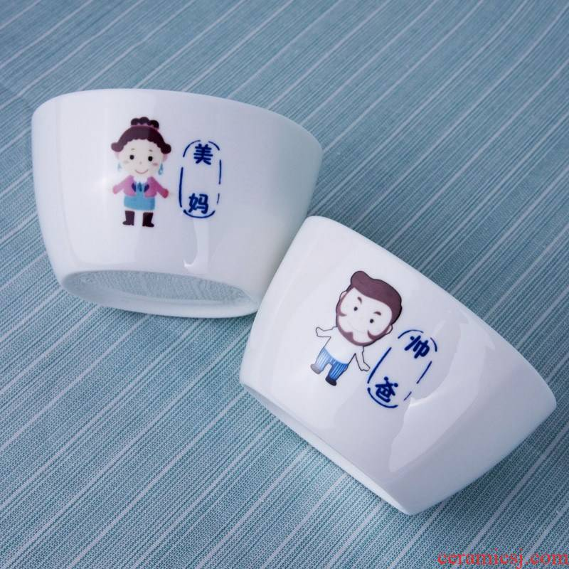 Always suit composite ceramic dishes for four four Chinese style household parent - child express Bowl chopsticks a household utensils