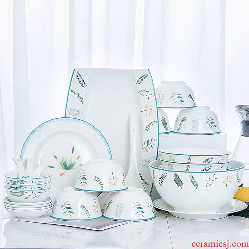 6 dishes suit household jingdezhen ceramic bowl combined 4 Korean contracted to eat noodles soup bowl plate