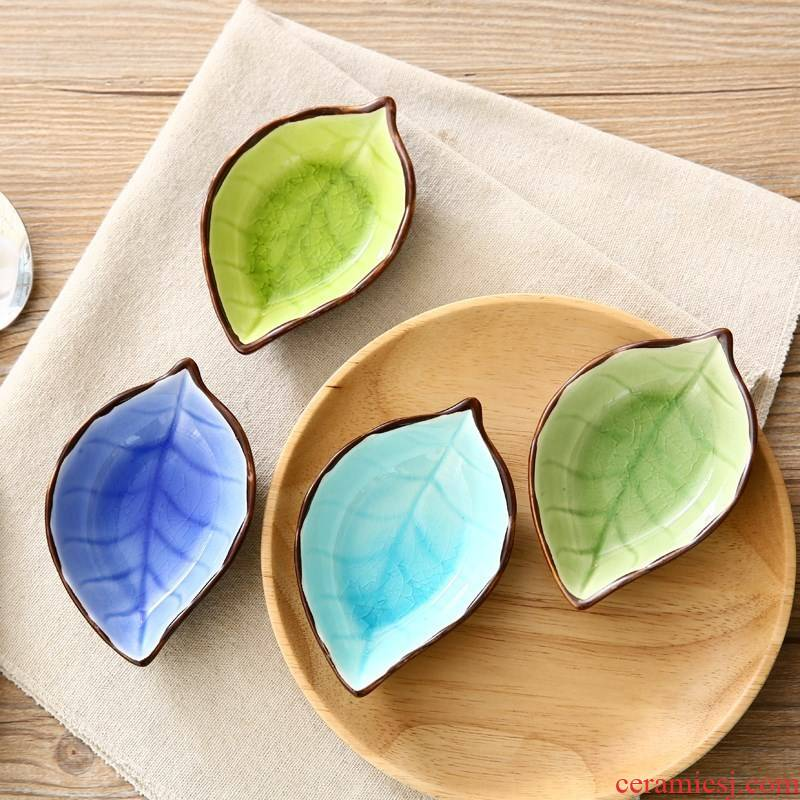 The Scene for the fresh family form fresh heart - shaped leaves side dish hotel 4 inch plate ceramic small household type