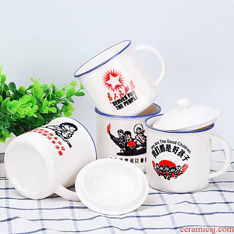 Hui shi porcelain enamel cup cup keller female with cover creative move cup nostalgic trend the custom office