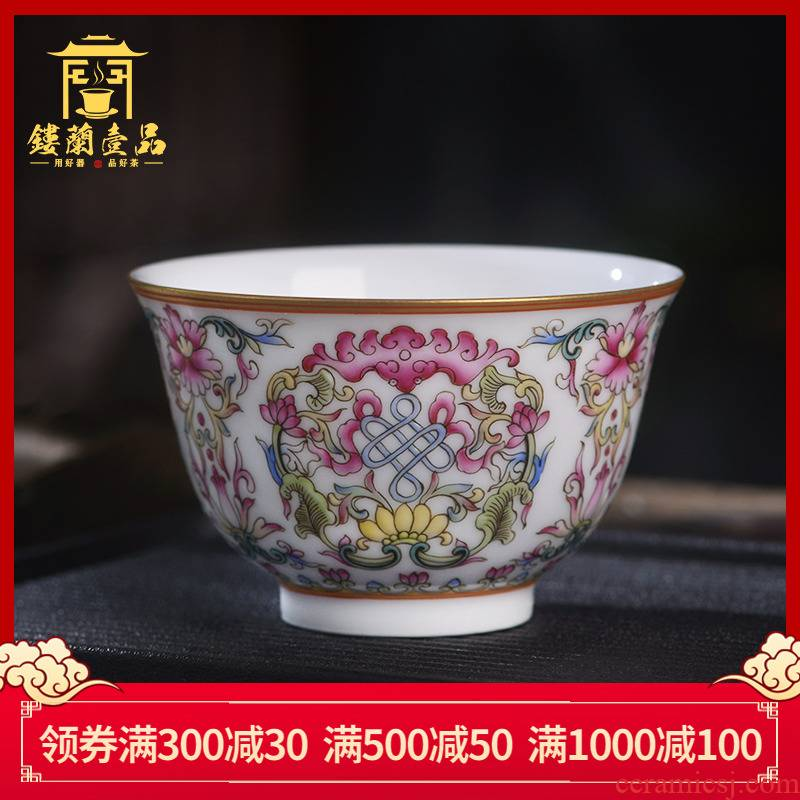 Jingdezhen ceramic all hand - made colored enamel in front master cup kung fu tea cup tea cup sample tea cup