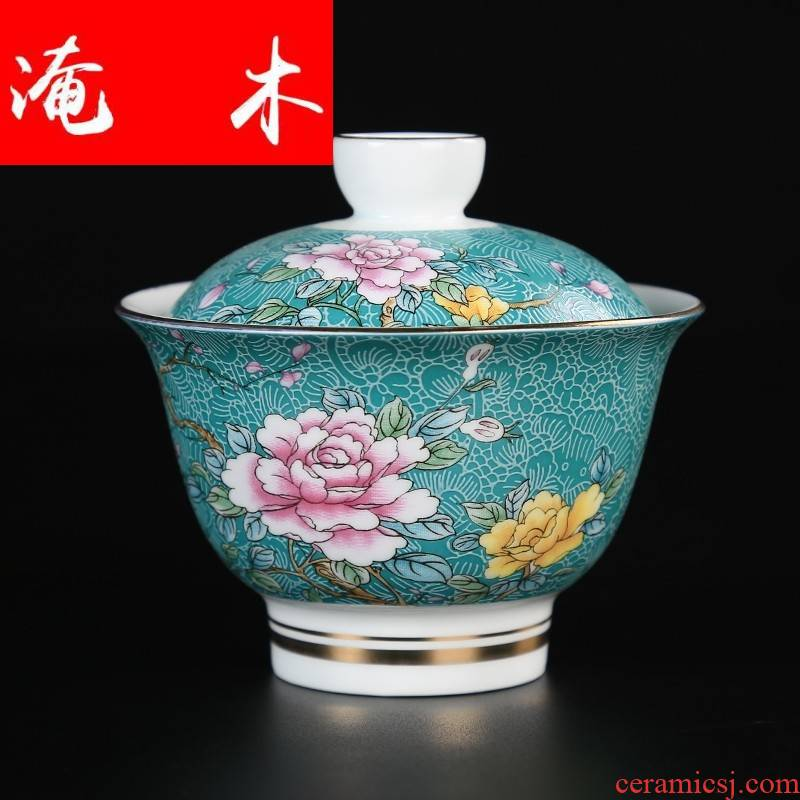 Flooded jingdezhen wood powder enamel three tall tureen manual pick flowers in kung fu tea bowl to bowl hand draw the see colour blue