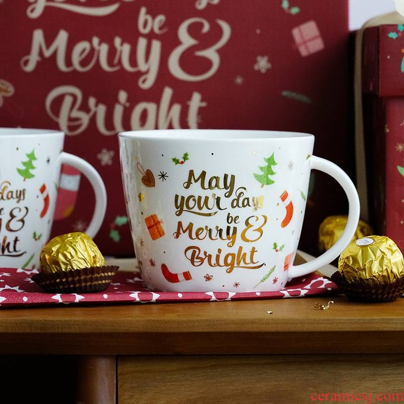 Qiao mu LH Christmas mugs ceramic ipads China large capacity present for girls creative breakfast cereal cup