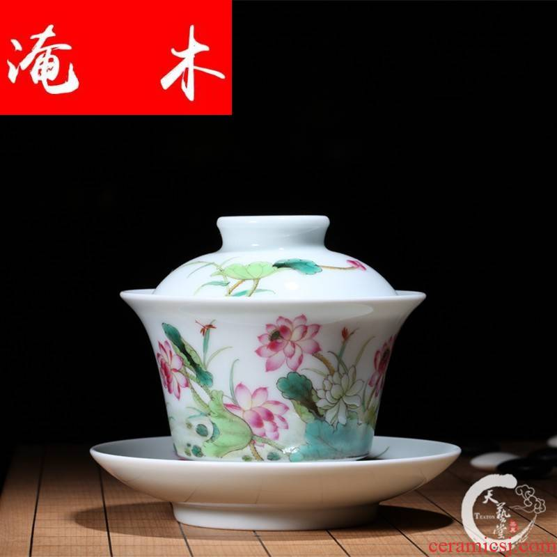 Submerged wood jingdezhen system of Ming the qing hall in jun hand - made porcelain enamel lotus tureen the spring breeze old your tea set