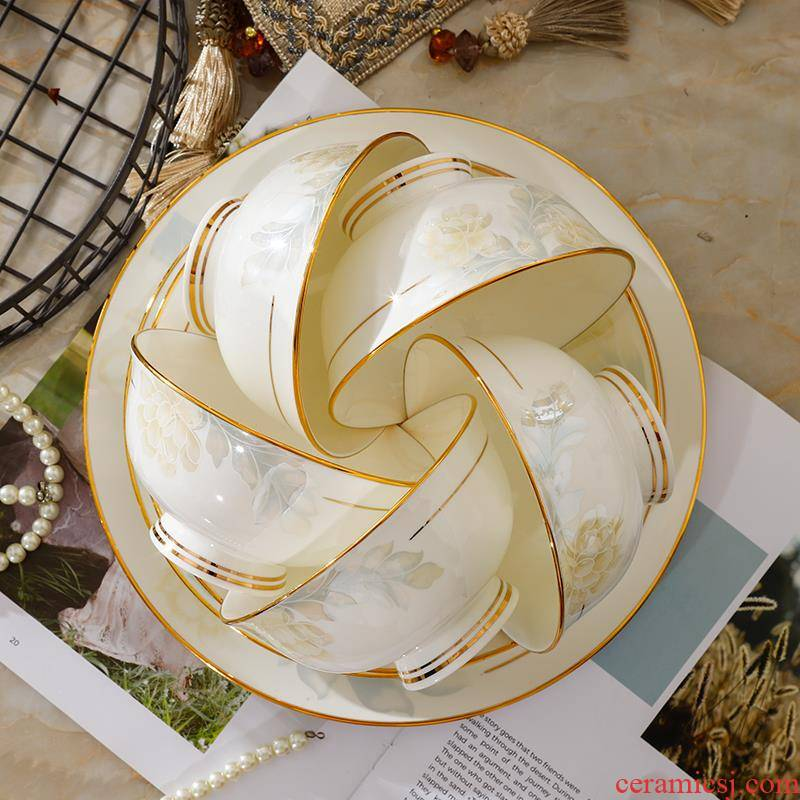 Dishes suit household single Chinese jingdezhen ceramics tableware ipads porcelain tall bowl of small bowl European - style up phnom penh