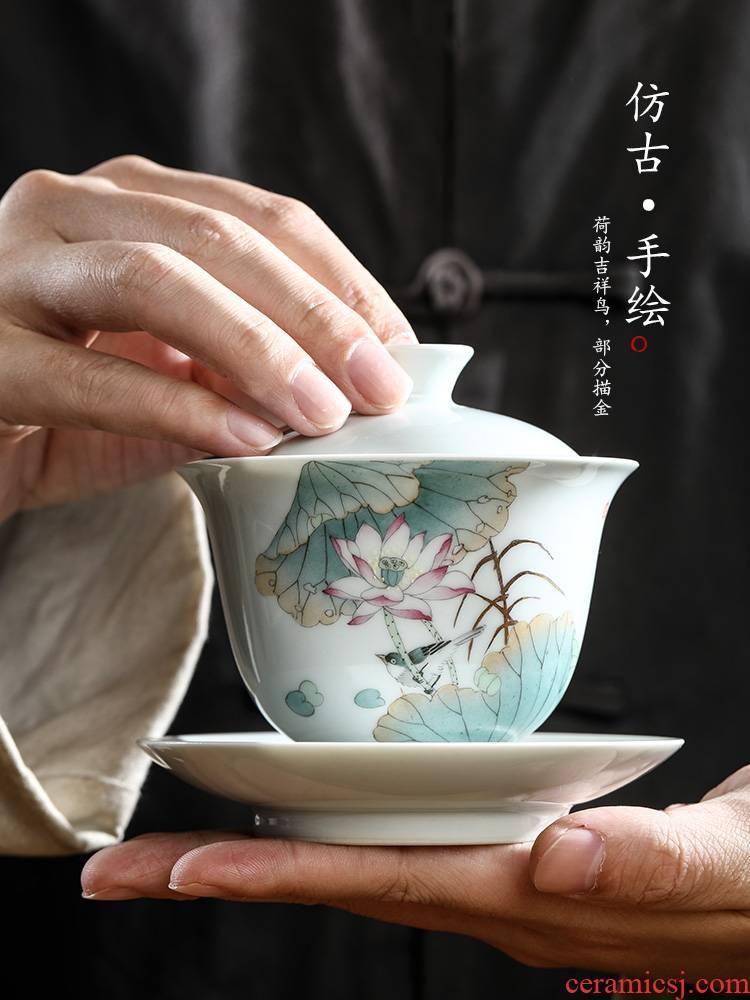 Jingdezhen only three tureen prevent hot large tea pure manual white porcelain bird kunfu tea bowl hand - made lotus tea