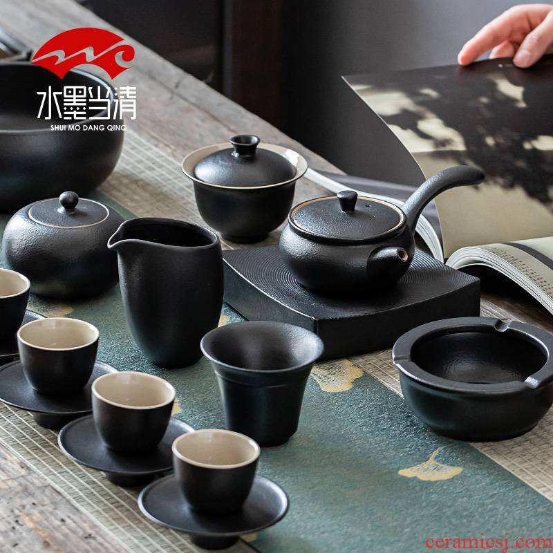 Coarse pottery teapot Japanese side kung fu tea set suit household ceramic tea cup tureen office receives a visitor restoring ancient ways