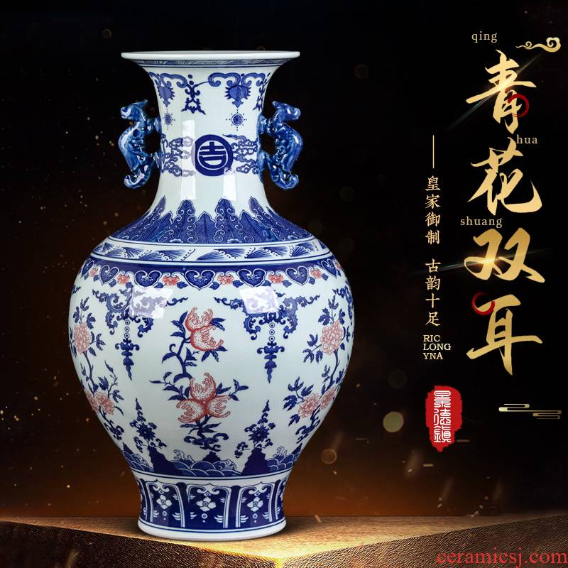 Jingdezhen ceramics hand - made flowers blue and white porcelain vase furnishing articles of Chinese style restoring ancient ways home decoration large living room