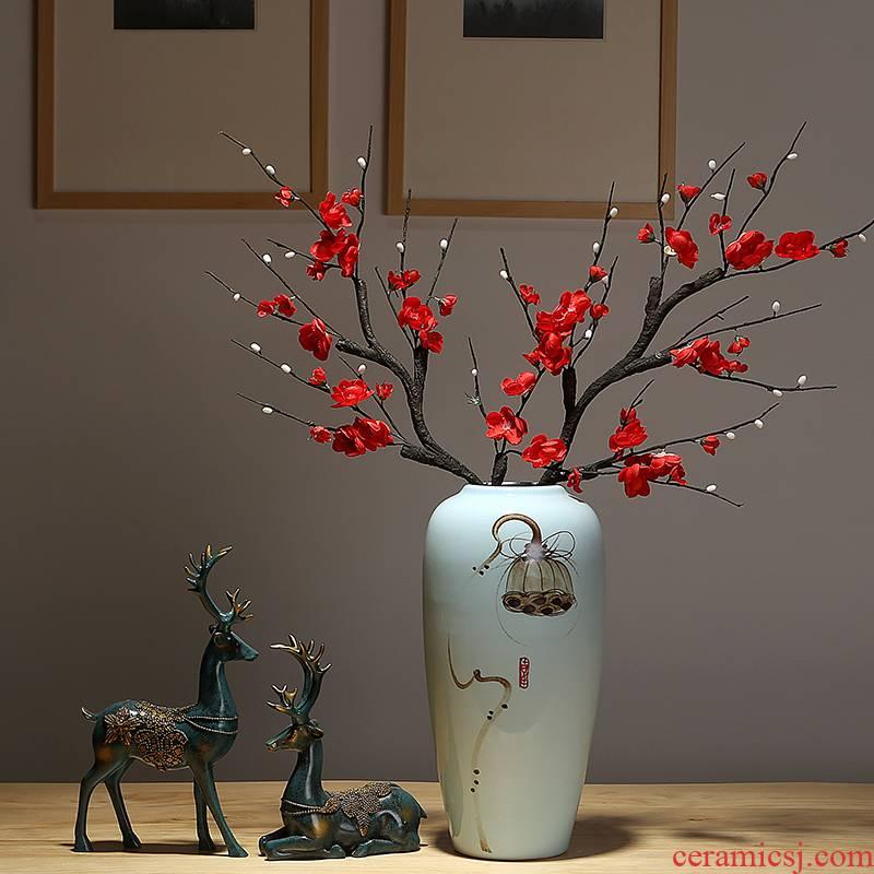 Jingdezhen new Chinese vase sitting room adornment hotel villa clubhouse TV ark, dried flowers, flower arrangement ceramic furnishing articles