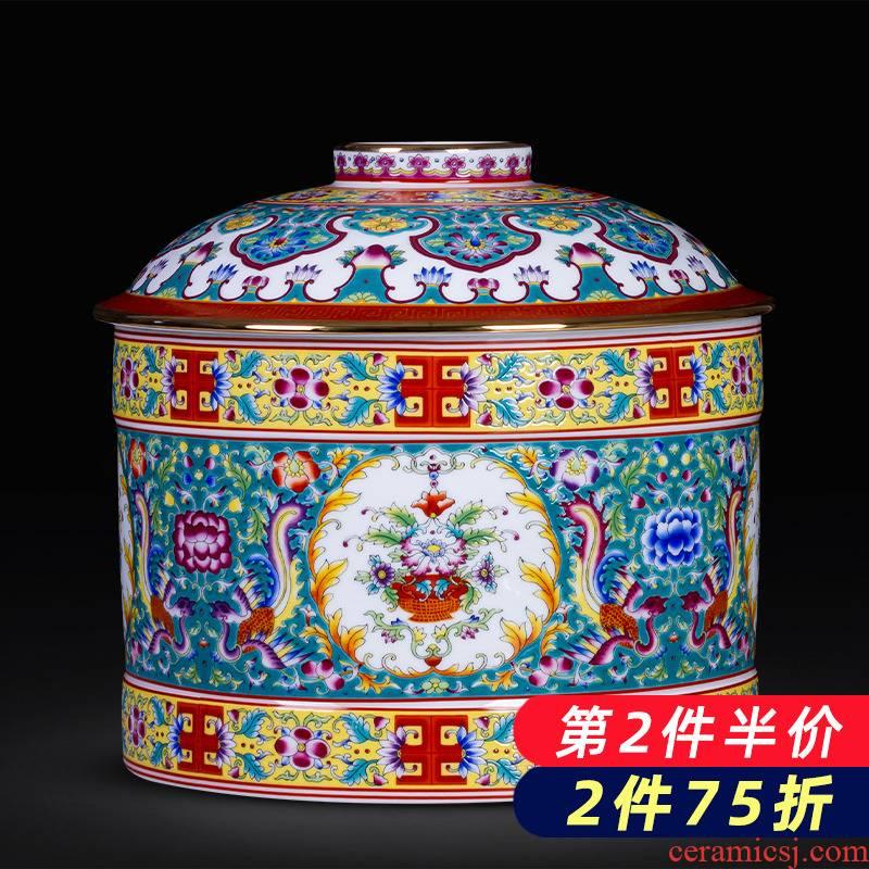 Jingdezhen porcelain enamel Mosaic gold edge caddy fixings puer tea cake tin, household large sealed container storage place