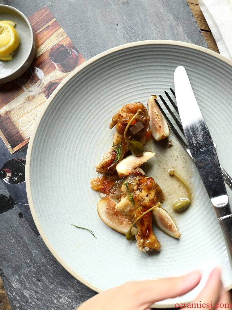 Qiao mu creative ceramic shire thread the market of kitchen utensils steak dish west pot dish platter flat breakfast tray