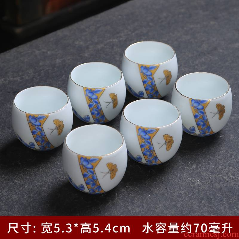 Up with inferior smooth sample tea cup masters cup ceramic cups kung fu tea cups pu - erh tea cup celadon single CPU customization