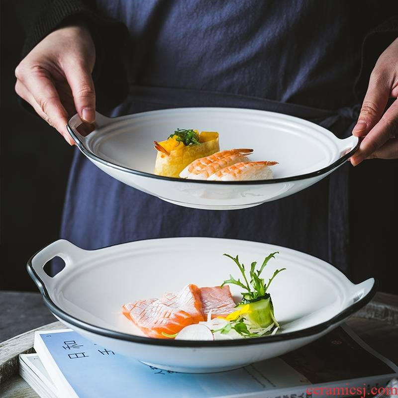Nordic breakfast dish food dish ceramic pan contracted black household hotel tableware plate pan ears