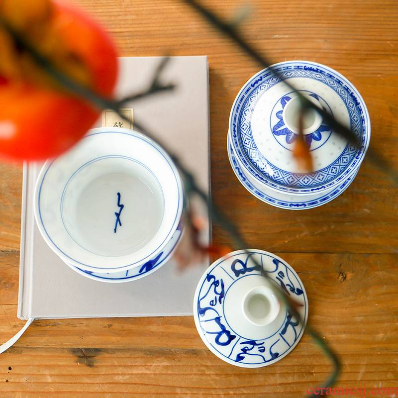 Restoring ancient ways of jingdezhen blue and white porcelain tureen only three cups of tea ware bowl kung fu hand grasp the teapot tea cups