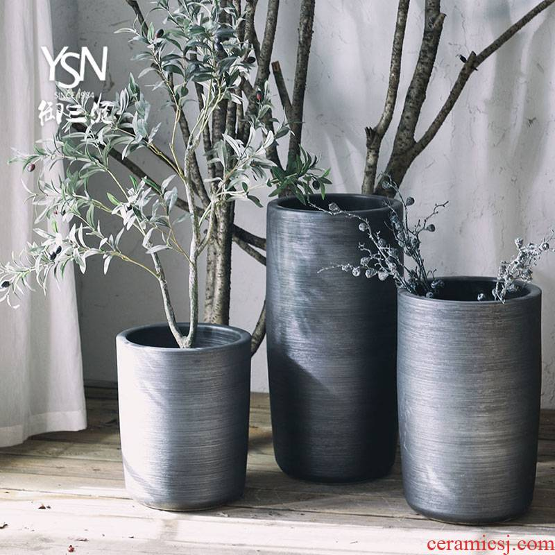 Royal three black mud heavy green plant grown furnishing articles Nordic contracted ceramic flower pot flower bed modern indoor and is suing decoration